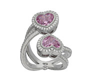 Judith Ripka Sterling & Diamonique Heart BypassRing - J343415
