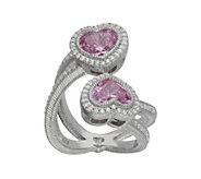 Judith Ripka Sterling & Diamonique Heart BypassRing - J343415