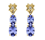 1.55 cttw Tanzanite & Diamond Accents Dangle Earrings, 14K - J343515