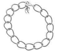 Carolyn Pollack Sterling Twisted Rope Link Chain 8 Bracelet - J343615