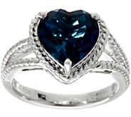 Heart Cut London Blue Topaz Sterling Silver Ring 3.50 ct - J345915