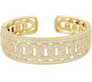 Judith Ripka Sterling/14K Clad Diamonique Curb Link Cuff Bracelet - J346715