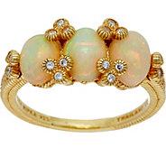 Judith Ripka Sterling Silver & 14K Clad Ethiopian Opal Ring - J347915