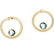 Italian Gold Gemstone 3/4 Hoop Earrings 14K Gold - J348715