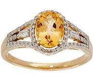 Oval Imperial Topaz & Baguette Diamond Ring 14K, 1.15 cttw - J350415