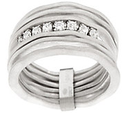 As Is Italian Silver Sterling Satin Finish Multi-Row Diamonique Ring - J350715