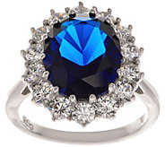 Diamonique Sterling 12.00 cttw Simulated Sapphire Ring - J351915