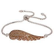 Affinity Colored Diamond Angel Wing Adj. Bracelet, Sterling - J354015