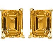 14K Emerald Cut Gemstone Earrings - J375015