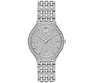 Bulova Womens Stainless Crystal Watch with Round Pave Dial - J375115