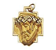 14K Yellow Gold Christ Head Pendant - J108216