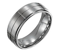 Forza Mens 8mm Steel Grooved Satin PolishedRing - J109516
