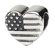 Prerogatives Sterling Heart Flag Bead - J111316