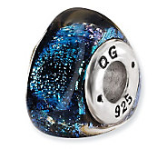 Prerogatives Sterling Blue Dichroic Glass Triangle Bead - J113416