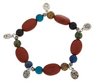 Southwestern Sterling Multi-gemstone Charm Dangle Bracelet - J152616