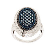 Pave Blue & Black Oval Diamond Ring, Sterling, 1cttw by Affinity - J273216