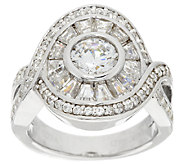 TOVA for Diamonique Round & Baguette Ring, Sterling - J281116