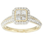 Michael Beaudry 1 cttw Diamond Cushion Halo Ring, 14K Gold - J288616