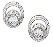 Judith Ripka 13.65cttw Oval and Pave Diamonique Earrings - J290216