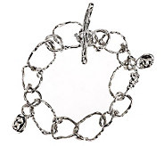 As Is Hagit Sterling Average Textured Link Toggle Bracelet - J292116