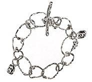 As Is Hagit Sterling Average Textured Link Toggle Bracelet - J292116