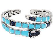 Judith Ripka Sterling Turquoise & Sapphire Snake Cuff - J295216