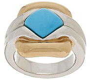 14K Gold Sleeping Beauty Turquoise Two-Tone Polished Ring - J295416