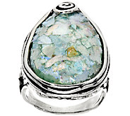 Sterling Silver Pear Shaped Roman Glass Ring by Or Paz - J296316