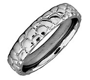 Simply Stacks Sterling Black Rhodium-Plated Cobble 4.25mm Ring - J299016