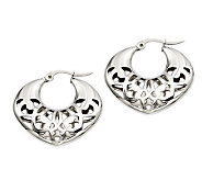 Stainless Steel Fancy Cut-Out Hoop Earrings - J308316
