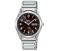 Seiko Mens Stainless Steel Black Dial Expansion Band Watch - J309116