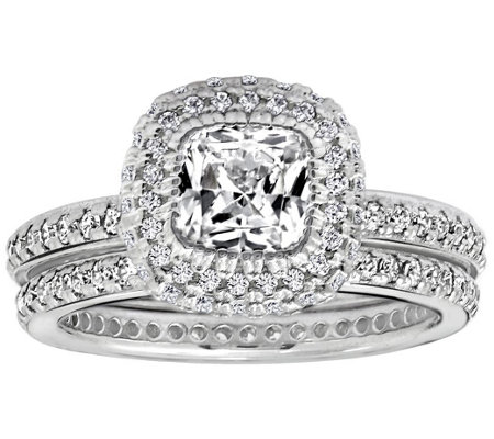 Diamonique 2.50 cttw 2 pc. Bridal Ring Set, Platinum Clad