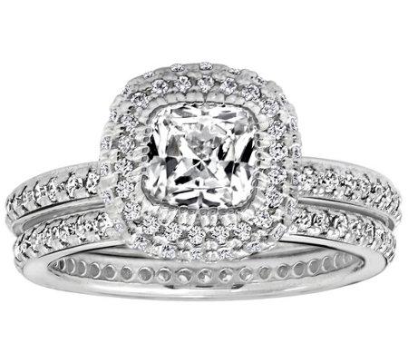Diamonique Cttw 2 Pc Bridal Ring Set Platinum Clad