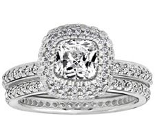 Epiphany Diamonique 2.50 ct tw 2-pc. Bridal Ring Set
