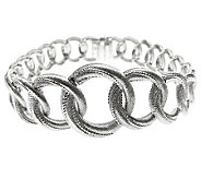Judith Ripka Sterling Silver 8 Textured Link Bracelet - J312316