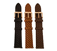 Bronze 18mm Set of 3 Leather Watch Straps byBronzo Italia - J313916
