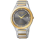 Seiko Mens Stainless Steel Two-Tone Solar Dress Watch - J315516