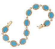 14K Gold 6-3/4 Sleeping Beauty Turquoise Tennis Bracelet, 9.0g - J319516