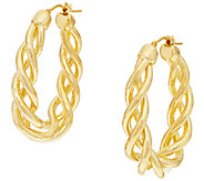 Oro Nuovo 1-1/2 Open Twist Oval Hoop Earrings, 14K - J319616