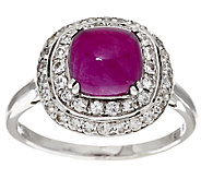 As Is 2.50 ct tw Cushion Thai Ruby & White Sapphire Sterling Ring - J320216