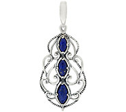 Carolyn Pollack Sterling Silver Marquise Lapis Textured Scroll Enhancer - J322616