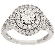 Double Halo Solitaire Diamond Ring, 14K, 1 cttw, by Affinity - J325516