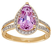 As Is Pear Shaped Kunzite and Diamond Ring 14K, 3.00 cts - J328116