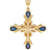 14K Gold Australian Opal Triplet Cross Pendant - J328716