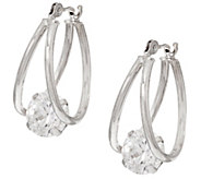 Diamonique 2.00 cttw Split Hoop Earrings, 14K Gold - J329616
