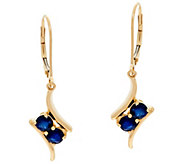 2 Stone Precious Gemstone Drop Earrings, 14K 0.80 cttw - J330216