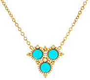 Judith Ripka Sterling & 14K Clad Turquoise & Diamonique Necklace - J330516