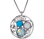 Sterling Silver Roman Glass Pendant with Chain by Or Paz - J347616