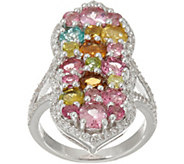 Multi-Color Tourmaline & White Zircon Sterling Ring 4.00 cttw - J348116