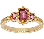 Judith Ripka 14K Gold Three Stone Pink Tourmaline Ring - J349016